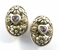 Vintage Sterling Silver Marcasite And Amethyst Heart Clip On Earrings.